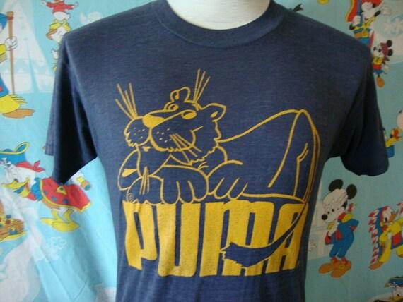 Vintage 70's Puma Cartoon Logo Soft Paper Thin Run