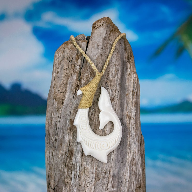 Hand Carved Bone Necklace Barbed Fish Hook Necklace