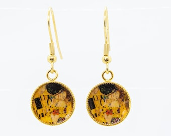 Valentine/'s Day Earrings Love ROMANTIC KLIMT KISS Earrings in Mother of Pearl Drop Earrings One of a Kind Gifts for Her