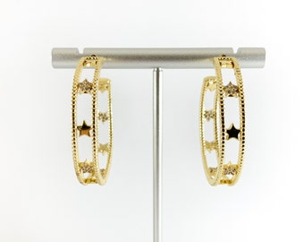 Real 18K Gold Plated CZ Pave Earring Hoop Component Over Copper