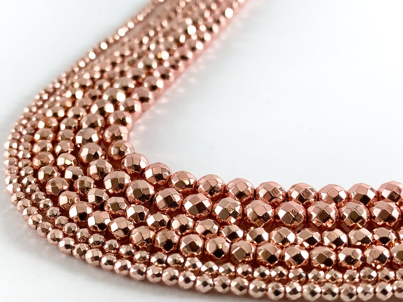 Real 18K Gold Plated Rose Gold Hematite Round Faceted Shiny Beads Around 15