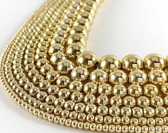 """Real 18K Gold Plated Hematite Round Smooth Beads Around 15"""""""