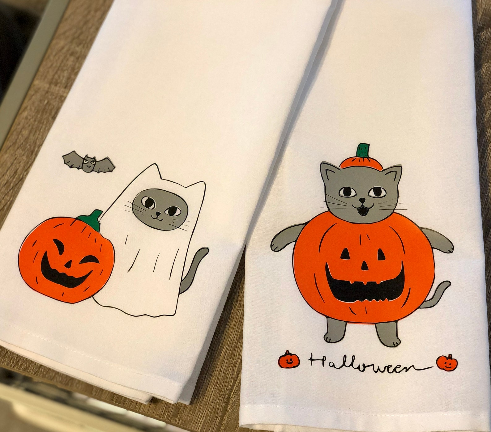 Halloween Cat Kitchen Towels Page Two