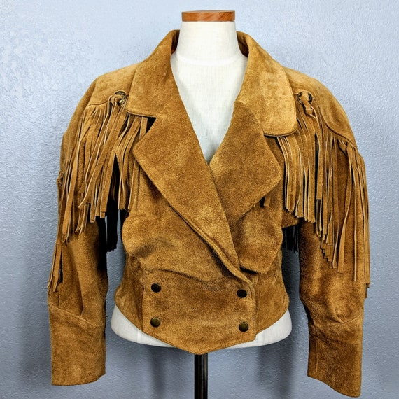 Vintage Suede Leather Jacket / 1980's Leather Frin