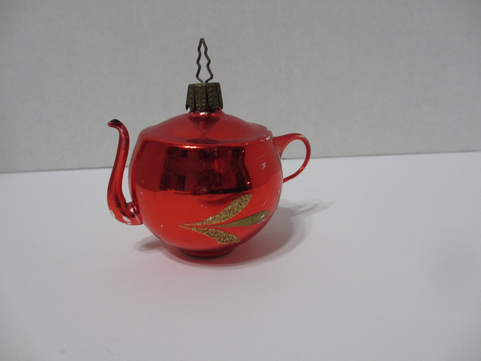 Vintage Red Glass Teapot Christmas Tree Ornament, Germany, HC124