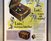 Framed 1947 RCA Victor Radio and Record Player advertisement