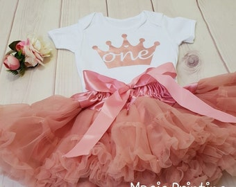 f017c06873d 1st Birthday Outfit Rose Gold Dusky Pink Cake Smash dress Crown Party Dress  Girls Photo Shoot Flower Headband Suit Set Toddler Decoration