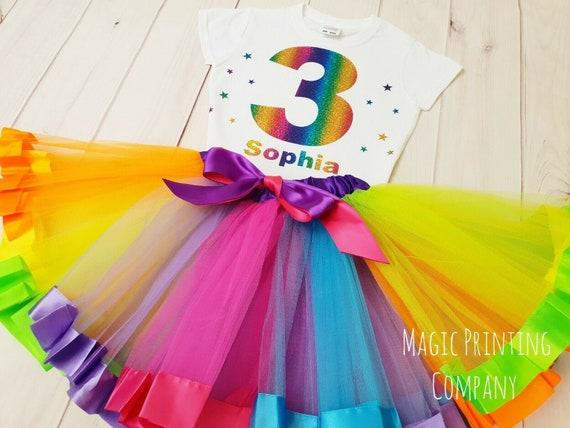 ANY NAME Unicorn Birthday Outfit Dress Rainbow Tutu Headband 3rd 4th 5th 6th