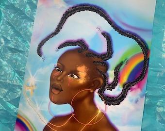Sweet rise Print Digital black girl painting
