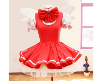 1/6 monthly payments Sakura Card Captor Cosplay Costume Pink Red First Opening Made to your Size