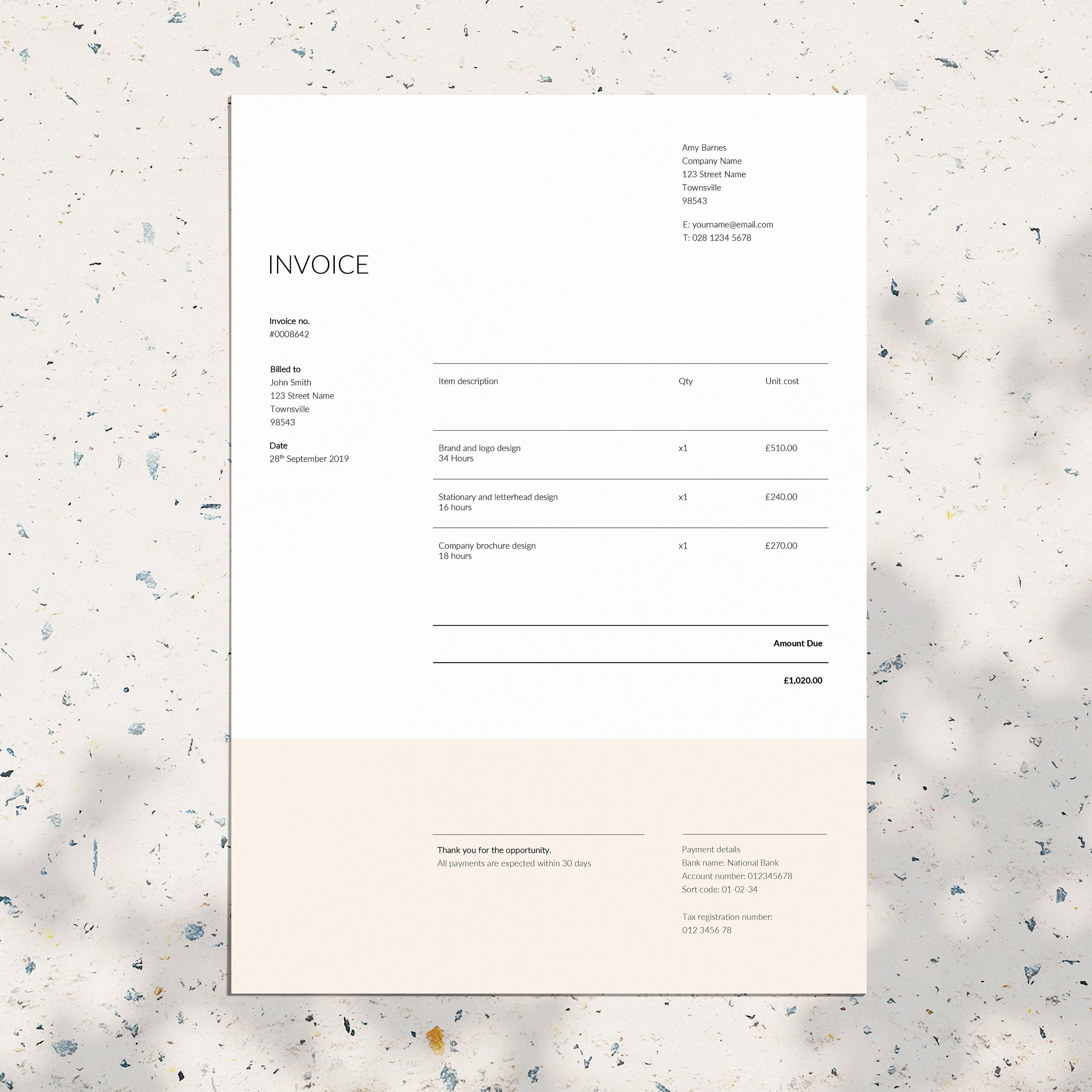 Invoice Template Business Invoice Ms Word Invoice Design Etsy
