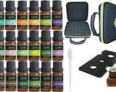 18 Essential Oil Set with FREE 42 Holes EVA Case Diffuser Aromatherapy 100 Therapeutic Grade Lavender Peppermint Tea Tree Frankincense