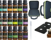 18 Essential Oil Set with 42 Hole EVA case Diffuser Aromatherapy 100 Therapeutic Grade Lavender Peppermint TeaTree Frankincense Oregano