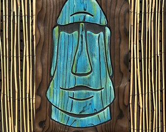 Blue Green Moai - Wood Carving