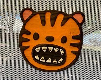 Tiger!!! Wall Art - Wood Carving