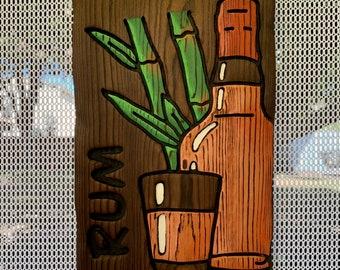 Sugar Cane & Rum Wall Art - Wood Carving