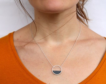 minimalist silver rose gold necklace hammered half moon half moon necklace personalized necklace Mama semicircle necklace dainty