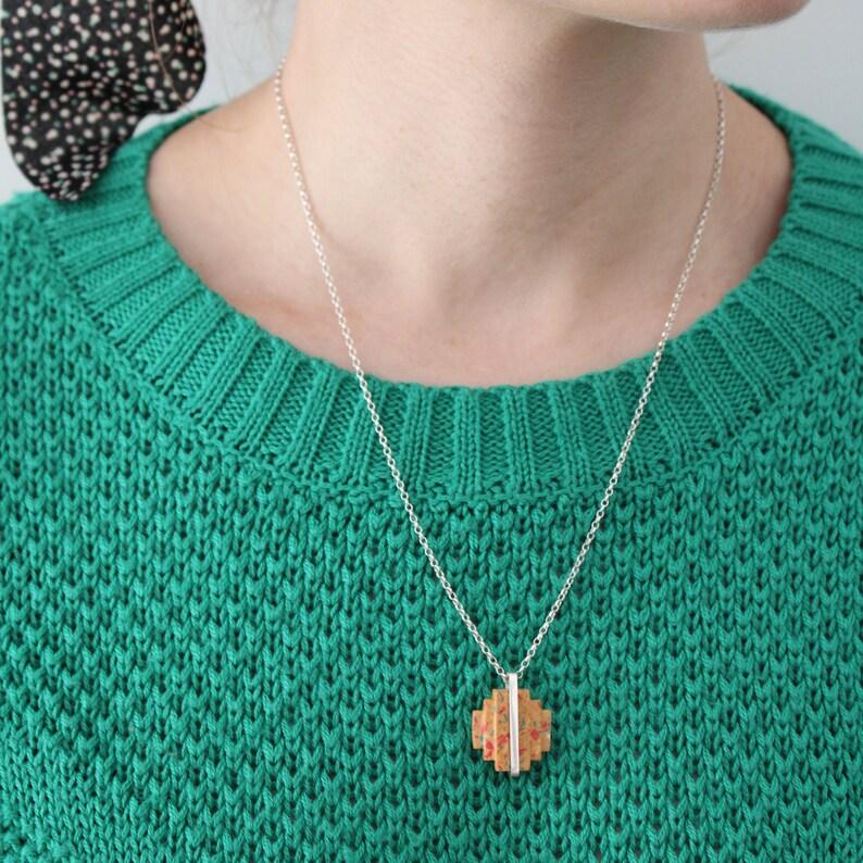geometric necklace, terrazzo jewelry concrete jewelry art deco necklace sterling silver necklace