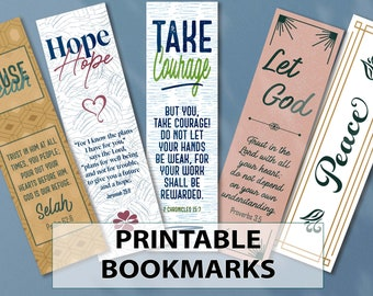 Assorted Printable Bookmarks | Scriptures | Encouraging & Unique | Book Lover Gift