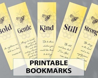 PRINTABLE Bee Bookmarks | Color & Black/White | Book Lover Gift | Charming Digital Bookmarks