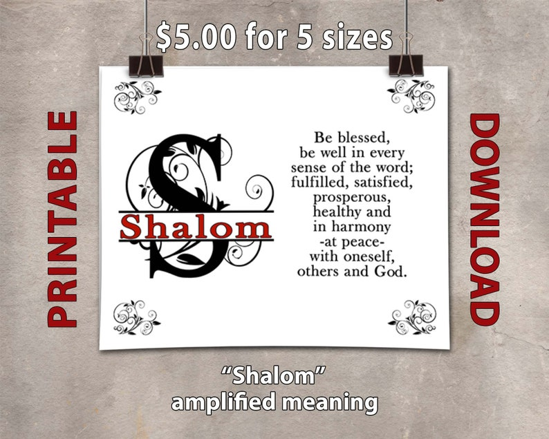 Shalom Blessing Defined PRINTABLE  Peace image 0
