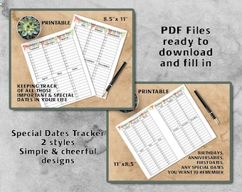 Birthday Calendar Printable | Perpetual Birthday Calendar | Special Dates Tracker