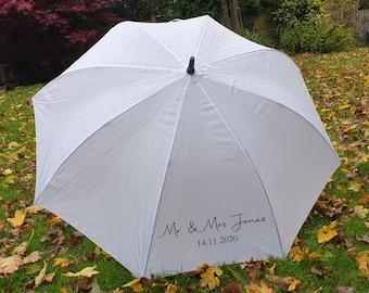 Personalised Wedding Umbrella, Bride Umbrella, Mr and Mrs Umbrella, White bridal umbrella, sunshade