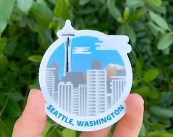 "Seattle, Washington Vinyl Sticker Measures 3"" x 3"""