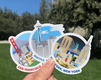 """San Francisco, New York, Seattle Vinyl Sticker Collection Pack - Measures 3"""""""
