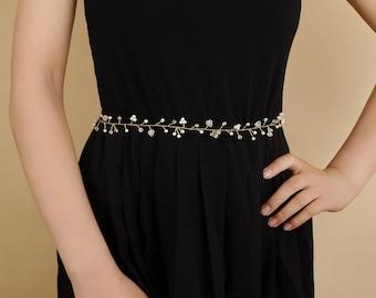 Wedding Bridal Sash Belt Crystal Pearl Formal Wedding Dress Waist Belt Handmade