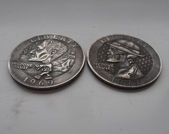 Carved coins   Etsy