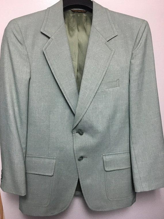 Vintage 1970s men's mint green suit 36R