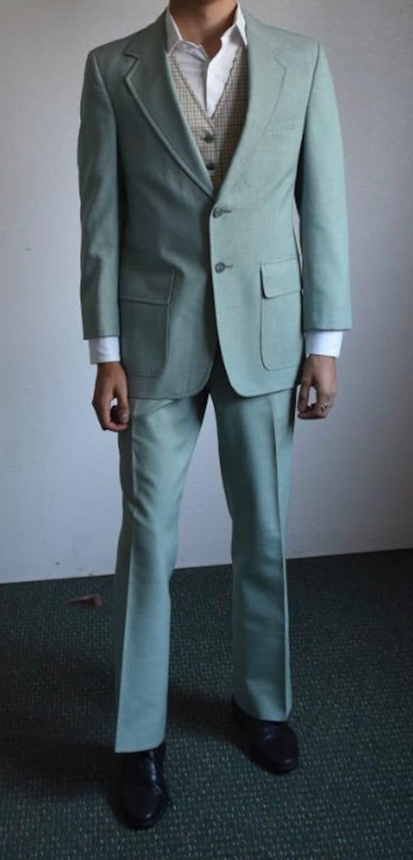 Vintage 1970s men's mint green suit 36R - image 5