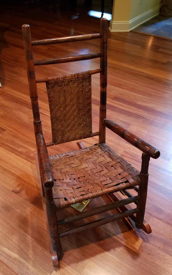 Pleasant Childs Vintage Oak Rocking Chair With Woven Seat And Back Machost Co Dining Chair Design Ideas Machostcouk