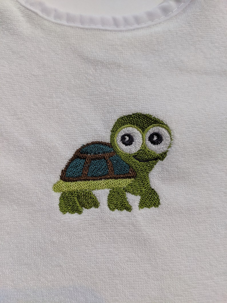 Cute little Turle or Tortoise and It Can Be Personalized Embroidered Baby Bib Free Shipping