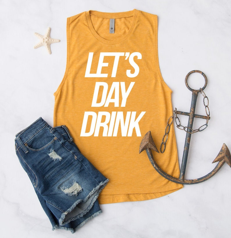 Let/'s Day Drink Tank Top Funny Cute Workout Fitness Running Run Gym Crossfit Mimosas Brunch Champagne Tee Tshirt T-shirt Womens