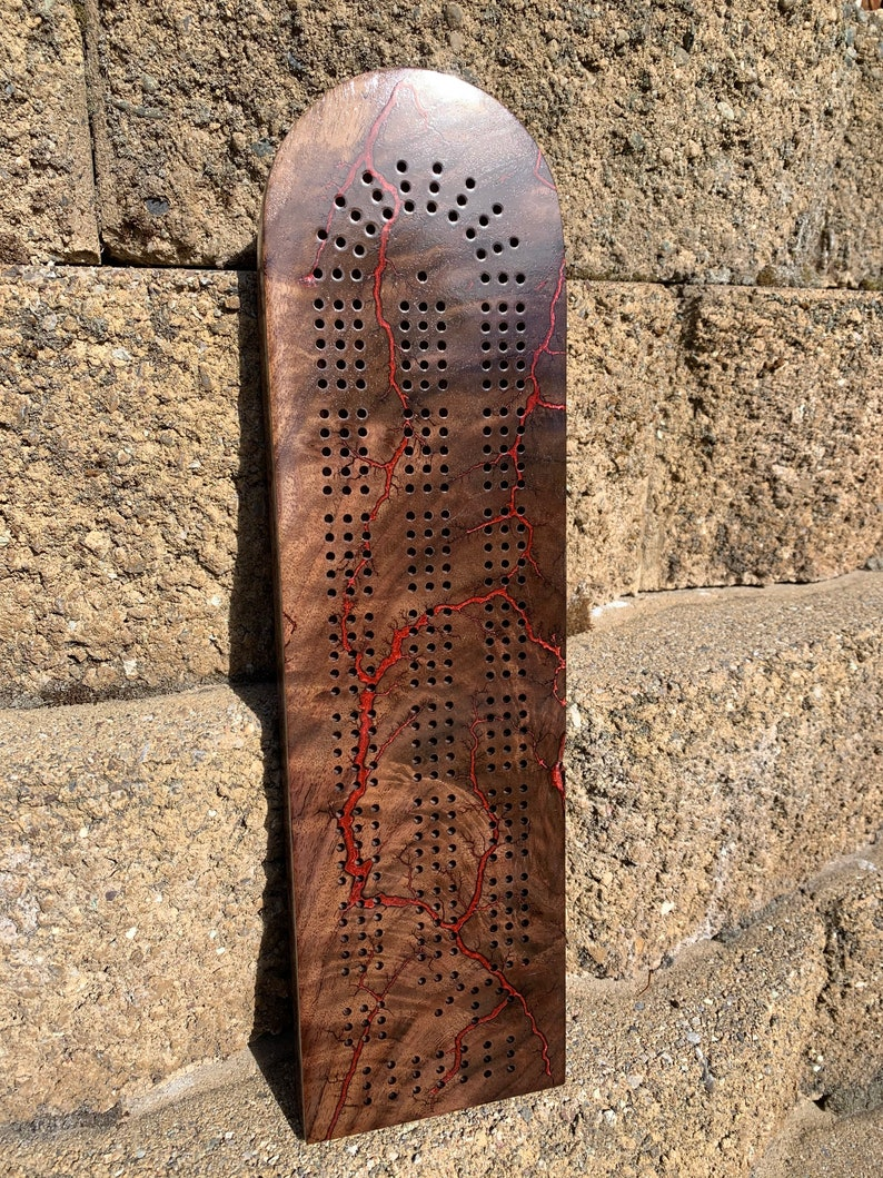 Fractal Burn Handmade Cribbage Board