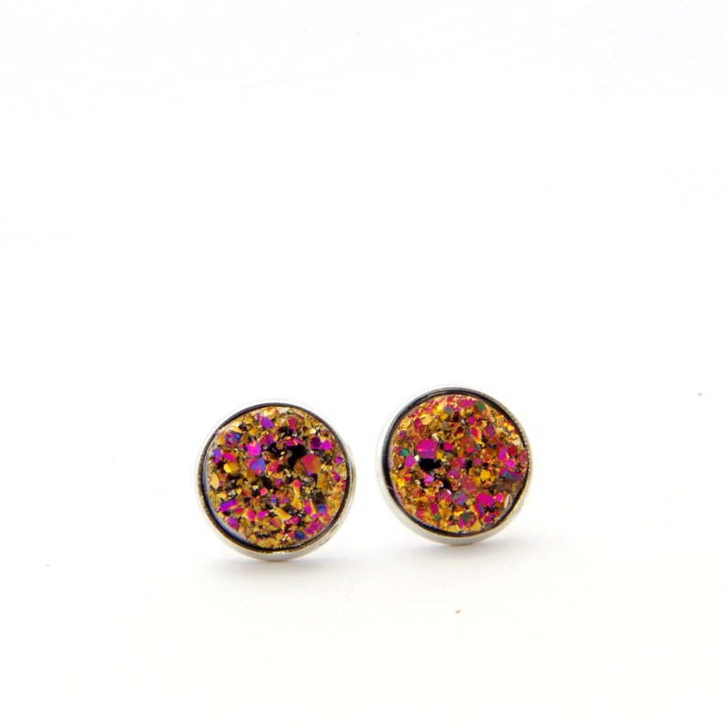 Black pink cristal studs in steel color jewelry for Mother Day  gift for her cabochon earrings unique gifts for women