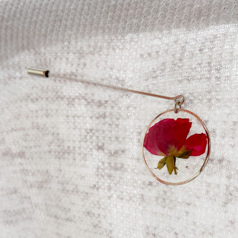 Flat rose brooch badge with pressed flower gift for her in floral pins