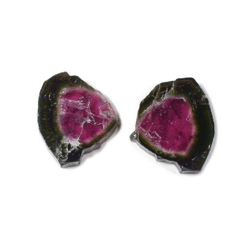 2 Piece of Natural Watermelon Tourmaline Slice 20.5x18 MM Tourmaline Slice for Jewelry Making Tourmaline Gemstone GC#35