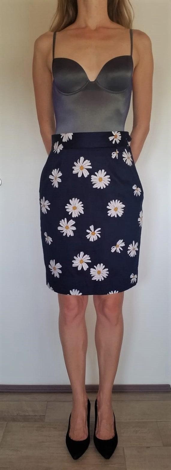 1990'S Moschino vintage skirt | daisy print skirt