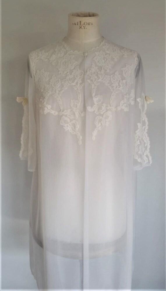 1960's vintage Italian lace robe | sheer bridal ne