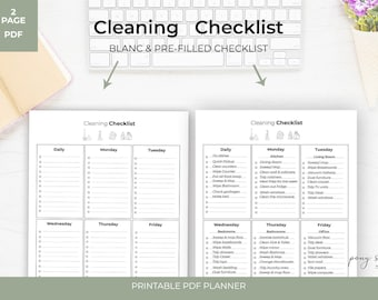 Items similar to Productivity Planner - Printable Cleaning Checklist