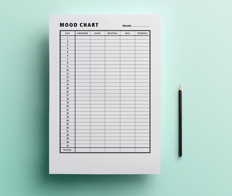image regarding Printable Mood Chart referred to as Temper Observe Printable / Temper chart / Temper tracker / PMS tracker / Temper monitoring / Experience tracker / Temper magazine / Psychological physical fitness