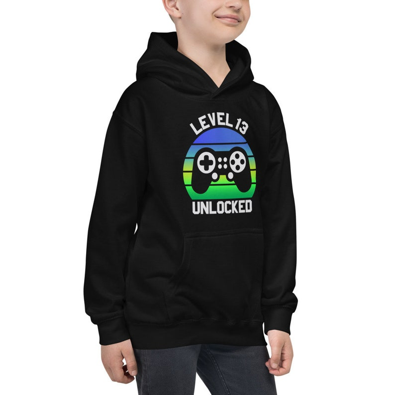 13th Birthday Kids Hoodie Funny 13 Year Old Birthday Video Gamer Hoodie 13th Birthday Girls Boys Hoodie 13 Year Old Gifts