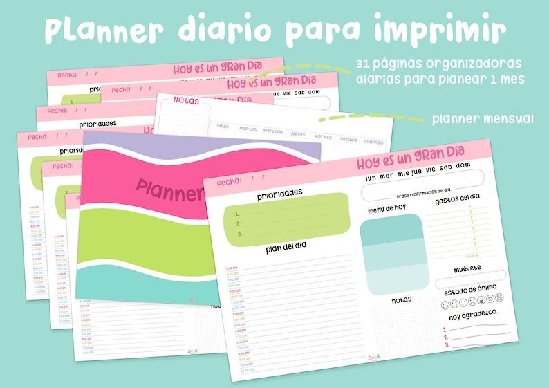 Planner diario para imprimir  Libro mensual organizador image 0