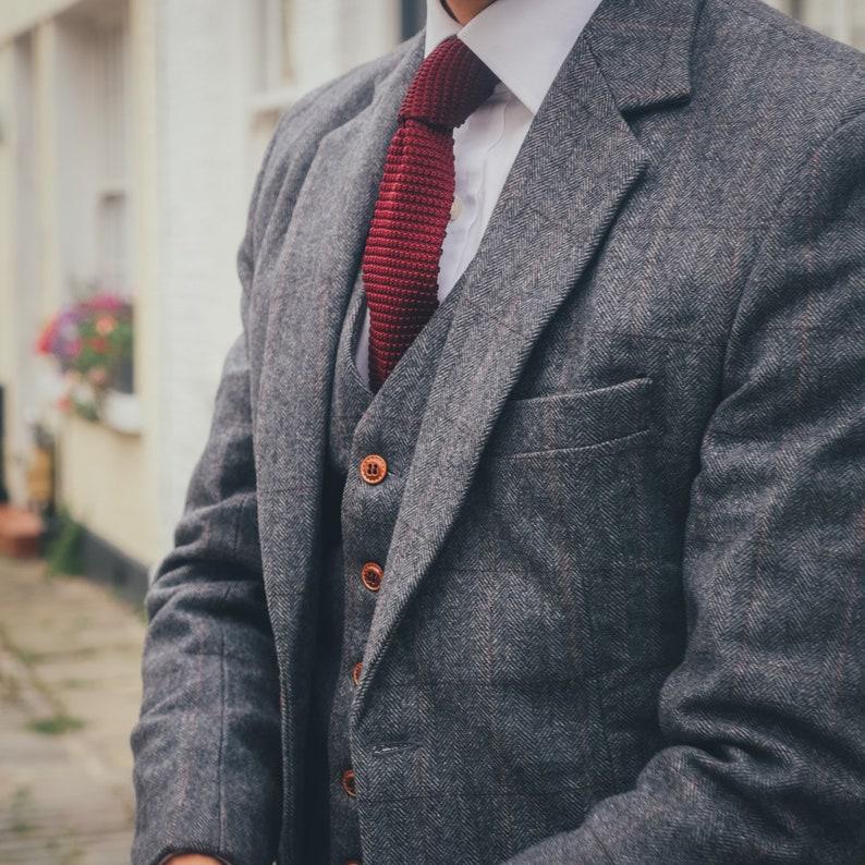 Traditional Grey Estate Herringbone 3 Piece Tweed Suit IvEbyYHO