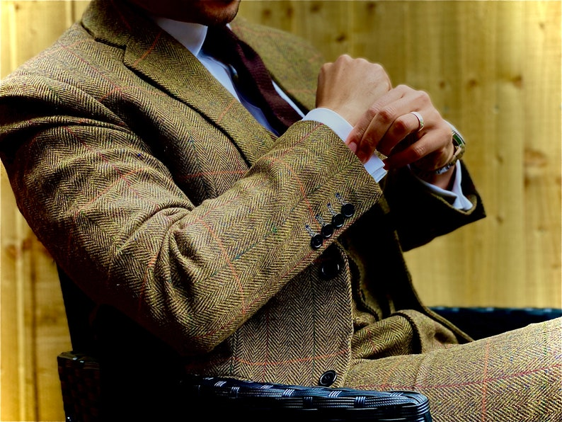 Brown Estate Herringbone Tweed 3 Piece Suit ZWHFr0II