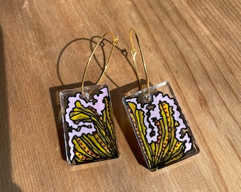 Hand Painted 70s Hoop Earrings  Resin Earrings   statement earrings   Boho jewelry   mindfulness gift   drop earrings   bohemian findings
