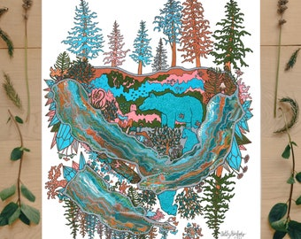 Unbearable Forest Mindscape   wiccan decor, popular right now, one piece poster, psychedelic poster, northwest coast, modern wall art